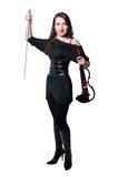 Violinist girl in black dress Stock Image