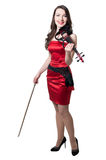 Violinist girl in red dress Royalty Free Stock Photo