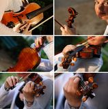 Violinist with her violin Royalty Free Stock Photos