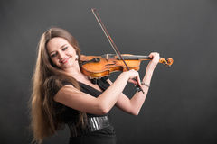 Violinist with long hair Stock Image