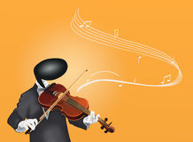 Violinist Man playing Violin with Musical Notes Royalty Free Stock Photo