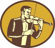 Violinist Musician Playing Violin Woodcut Royalty Free Stock Images