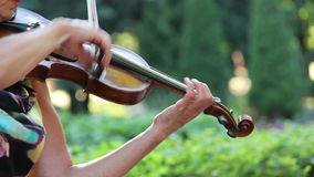 Violinist playing the violin in the park stock footage