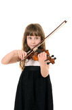Violinist playing the violin. Photo session in studio on white background Stock Photo
