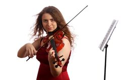 Violinist and pult Royalty Free Stock Image