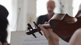 Violinist spielt auf Geige vor einem Blatt Papier mit musikalischen Anmerkungen stock footage