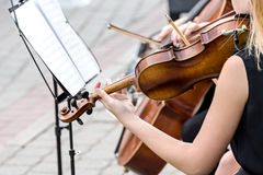 Violinist at street concert Stock Photography