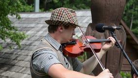Violinist viola play folk stock video