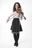 Violinist with violin on white Stock Image