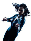 Violinist woman slihouette isolated Royalty Free Stock Photography