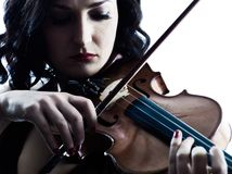 Violinist woman slihouette isolated Royalty Free Stock Images