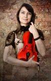 Violinista com violino foto de stock