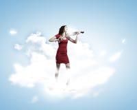 Violinista da mulher Imagens de Stock