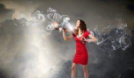 Violinista da mulher Fotos de Stock Royalty Free