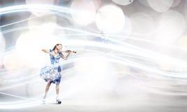 Violinista de la mujer Fotografía de archivo libre de regalías