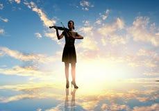 Violinista de la mujer Imagen de archivo libre de regalías