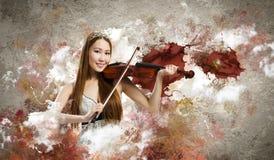 Violinista de la mujer imágenes de archivo libres de regalías