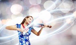 Violinista della donna Fotografia Stock Libera da Diritti