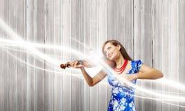 Violinista della donna Immagine Stock Libera da Diritti