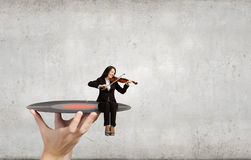 Violinista della donna Immagine Stock