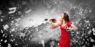 Violinista della donna Fotografia Stock