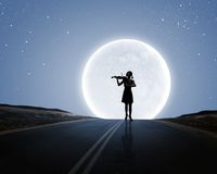 Violinista della donna Fotografie Stock