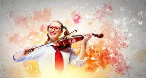 Violinista della giovane donna Immagine Stock Libera da Diritti