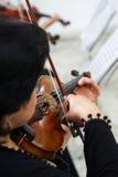Violinista Playing Classical Violin das mulheres imagem de stock