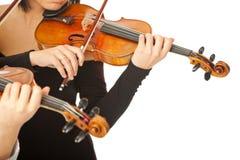 Violinistas que nenhuma face se isolou imagens de stock royalty free