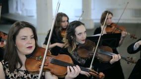 Violinisten, die Musik in der Halle spielen stock footage