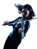 Violinistfrau slihouette lokalisiert Lizenzfreie Stockfotografie