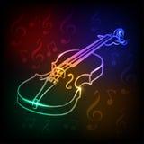 Violino al neon illustrazione di stock