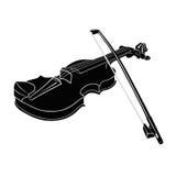 Violino bianco nero- dello strumento musicale con l'archetto su un fondo Fotografie Stock Libere da Diritti