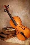Violino clássico e livros velhos fotografia de stock