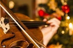Violino con l'albero di Natale Fotografie Stock