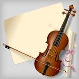 Violino con uno strato di carta Fotografie Stock