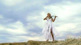 Violino de Skyline Plays The do violinista video estoque