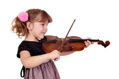 Violino del gioco della bambina su bianco fotografie stock libere da diritti