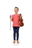 Violino della tenuta della ragazza Fotografia Stock
