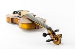 Violino dello strumento della corda di musica isolato su bianco Fotografia Stock