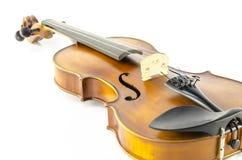 Violino dello strumento della corda di musica isolato su bianco Fotografie Stock