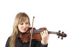 Violino di gioco femminile sveglio Fotografia Stock Libera da Diritti