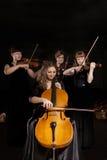 Violino do jogo do músico na obscuridade imagens de stock royalty free