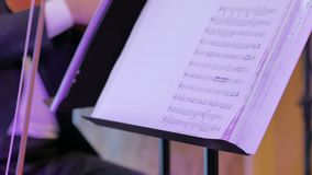 Violino do jogo dos músicos video estoque