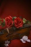 Violino do Valentim com rosas vermelhas Fotos de Stock
