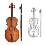 Violino e cartaz do vetor da curva ilustração stock