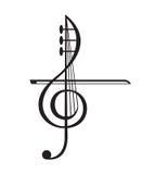 Violino e clave de sol Fotos de Stock Royalty Free