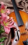 Violino e lírio em um fundo de seda imagem de stock