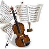 Violino e nota Fotografia Stock Libera da Diritti