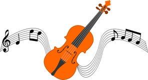 Violino e pauta musical Foto de Stock Royalty Free